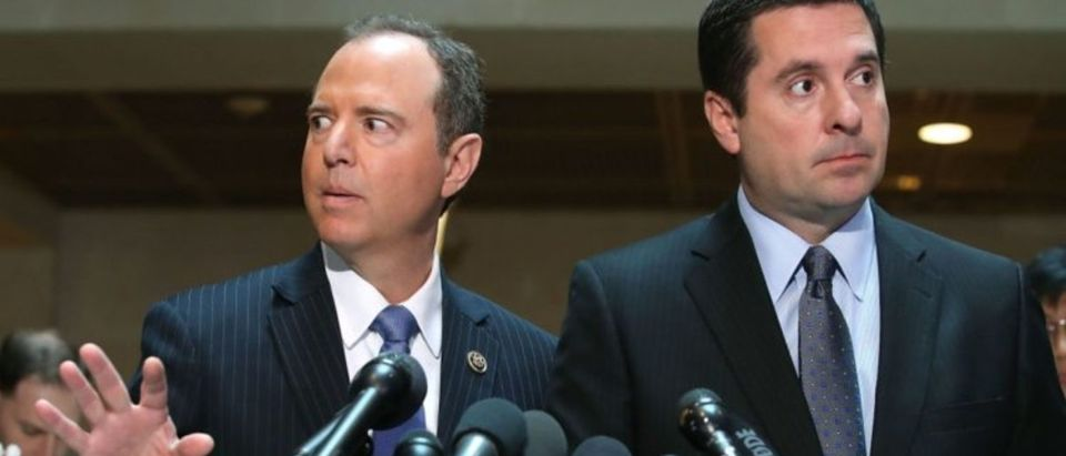 Devin Nunes and Rep. Adam Schiff are at the U.S. Capitol on March 15, 2017. (Mark Wilson/Getty Images)