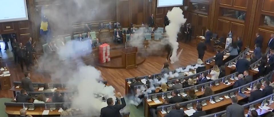 Screen Shot/Kosovo Parliament/Youtube/AP