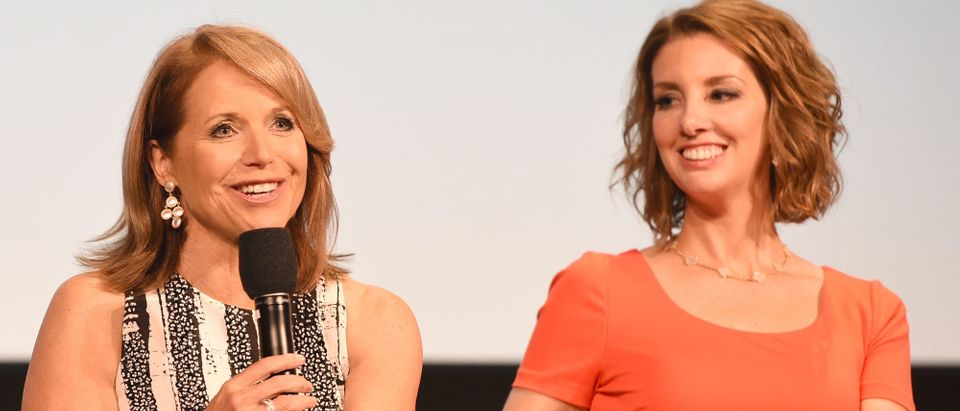 """Journalist/executive producer Katie Couric and Founder of Moms Demand Action Shannon Watts on stage during the Q & A at the """"Under The Gun"""" LA premiere featuring Katie Couric and Stephanie Soechtig at Samuel Goldwyn Theater on May 3, 2016 in Beverly Hills, California. (Photo by Joshua Blanchard/Getty Images for EPIX)"""