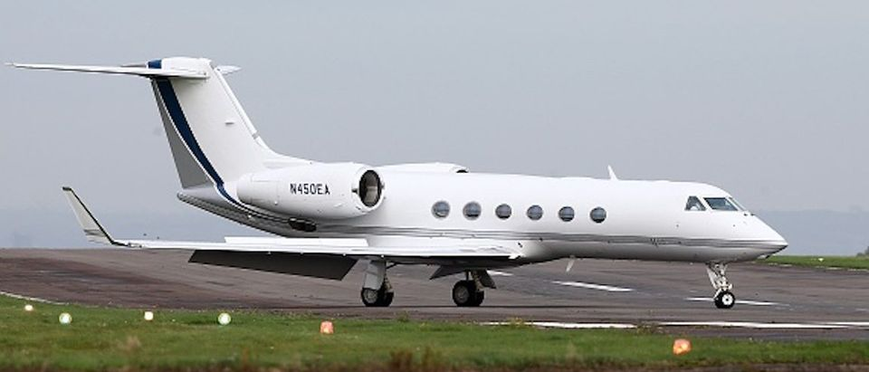 The private jet believed to be carrying Shaker Aamer, the last British resident in Guantanamo Bay, taxis after landing at Biggin Hill Airport, in south east London on October 30, 2015. Shaker Aamer arrived in London on Friday having earlier been freed from the US military prison in Cuba, British media reported. AFP PHOTO / JUSTIN TALLIS (Photo credit should read JUSTIN TALLIS/AFP/Getty Images)
