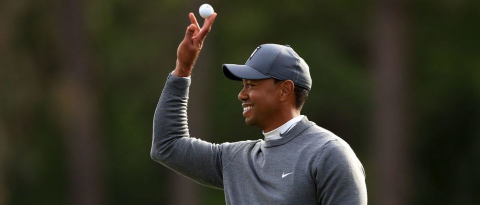 Tiger Woods reacts after playing his shot plays rom the 17th tee during the first round of the Valspar Championship at Innisbrook Resort Copperhead Course on March 8, 2018 in Palm Harbor, Florida. (Photo by Sam Greenwood/Getty Images)