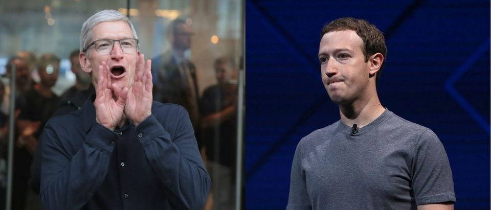 Left: Apple CEO Tim Cook (Photo by Scott Olson/Getty Images) Right: Facebook CEO Mark Zuckerberg (Photo by Justin Sullivan/Getty Images) | Cook: 'I Wouldn't Be In This Situation'