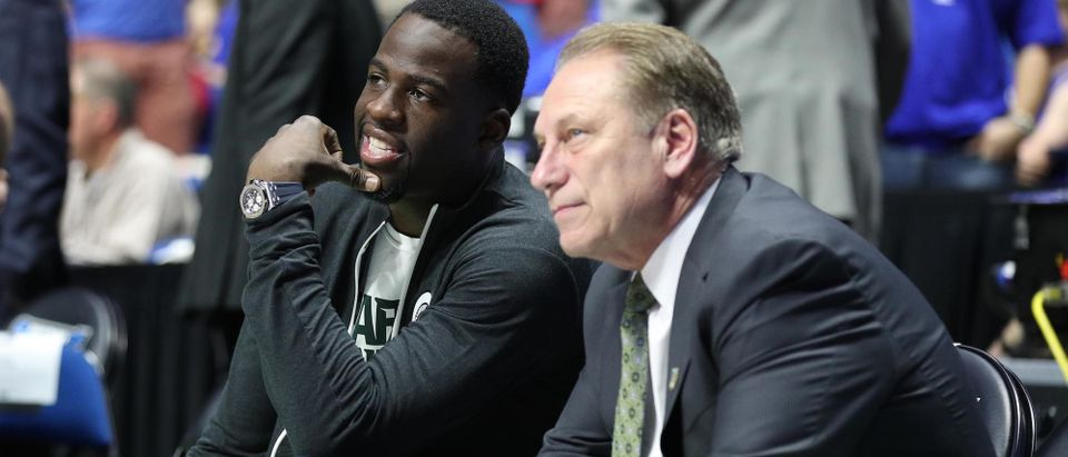 Golden State Warriors power forward Draymond Green speaks to Michigan State Spartans head coach Tom Izzo before the game between the Kansas Jayhawks and the Michigan State Spartans in the second round of the 2017 NCAA Tournament at BOK Center March 19, 2017, Tulsa, Oklahoma. Photo: Brett Rojo-USA TODAY Sports