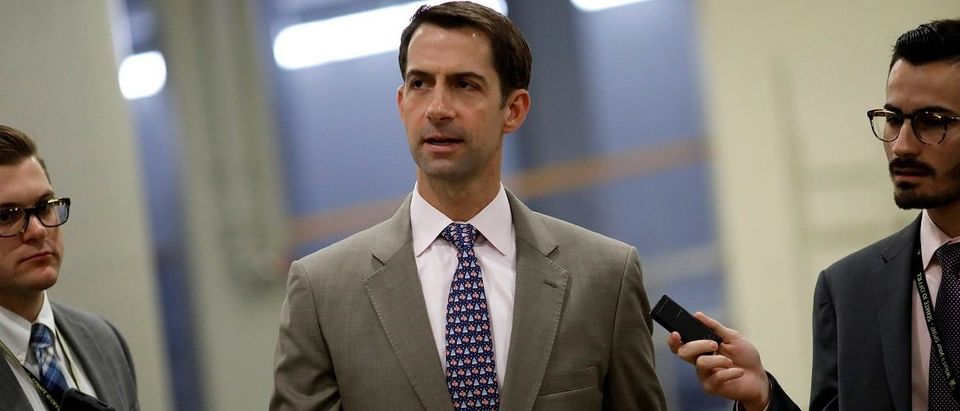 Sen. Tom Cotton (R-AR) speaks with reporters ahead of the party luncheons on Capitol Hill in Washington, U.S., September 19, 2017. REUTERS/Aaron P. Bernstein