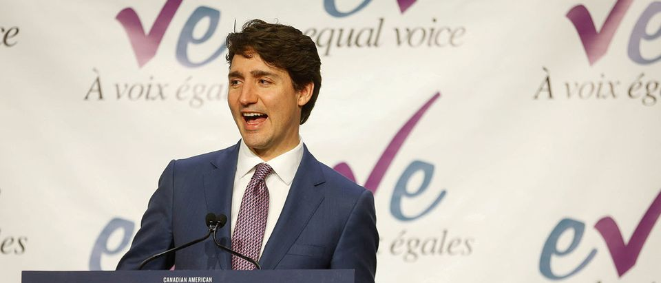 Canada's Prime Minister, Trudeau, delivers remarks at the Equal Voice International Women's Day Lunch in Toronto