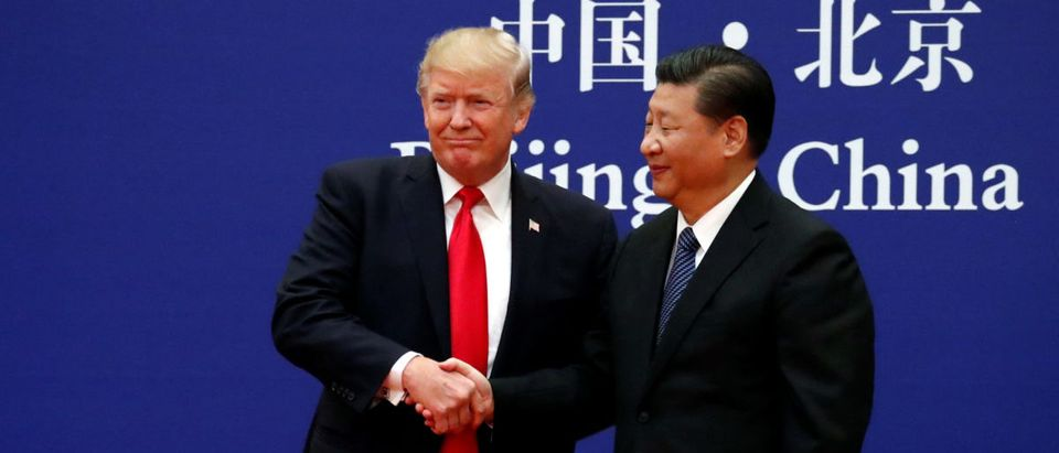 U.S. President Donald Trump and China's President Xi Jinping meet business leaders at the Great Hall of the People in Beijing, China, November 9, 2017. REUTERS/Jonathan Ernst