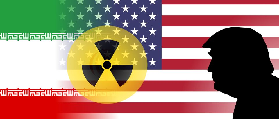 OCTOBER 8, 2017 - An illustration showing the flags of the United States and Iran with nuclear symbol and the silhouette of US President Donald Trump. Shutterstock.