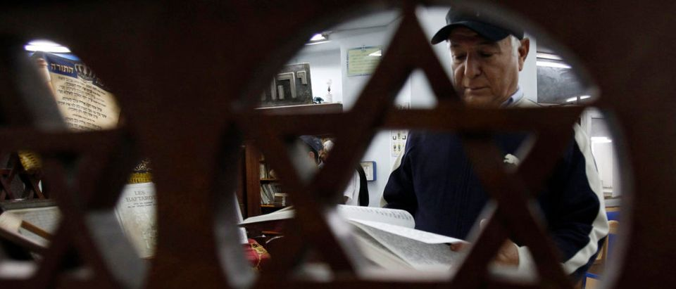 Tunisian Jew reads from the Torah in a synagogue in Tunis