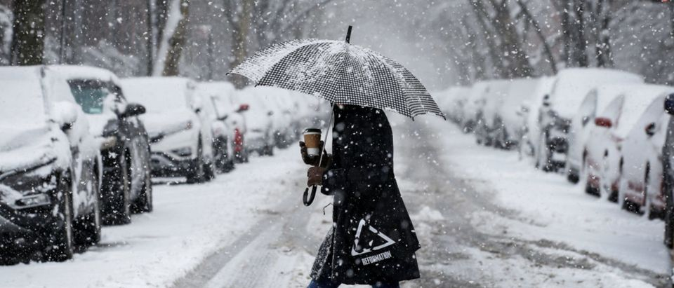 A woman walks in the snow during a winter nor'easter storm in the Brooklyn borough of New York, U.S., March 21, 2018. REUTERS/Brendan McDermid