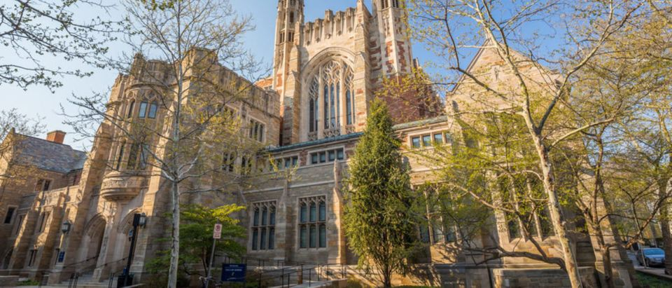 Yale University buildings stand against a spring blue sky in New Haven, CT USA. (Shutterstock/f11photo)