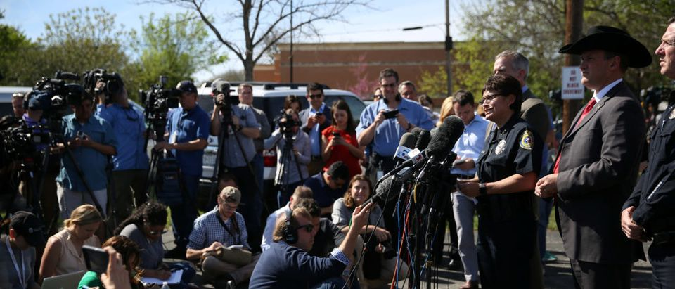 Pflugerville Police Chief Jessica Robledo addresses the media during a news conference regarding the Austin serial bombing suspect in Pflugerville, Texas, U.S., March 21, 2018. REUTERS/Loren Elliott
