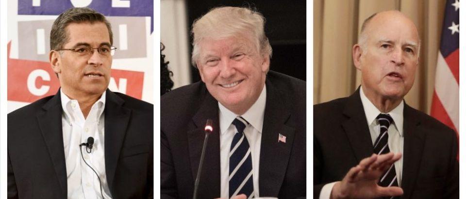 Xavier Becerra, Donald Trump, Jerry Brown (Getty Images)