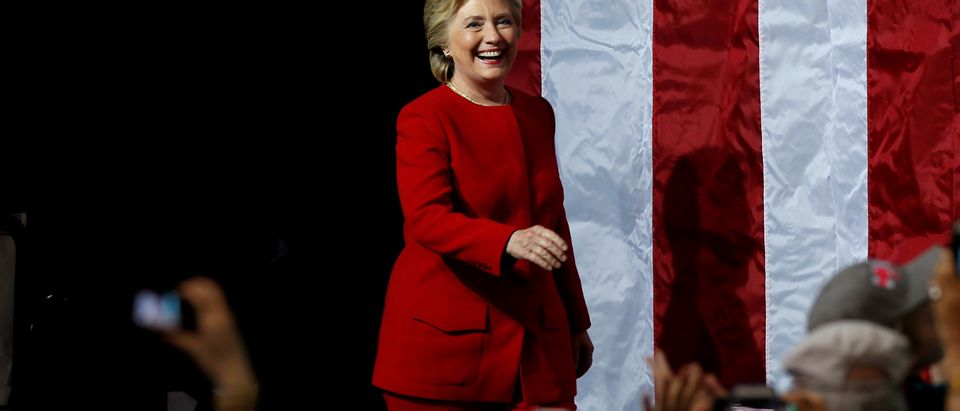 FILE PHOTO: U.S. Democratic presidential nominee Hillary Clinton arrives at a campaign stop at the Grand Valley State University Fieldhouse in Allendale, Michigan