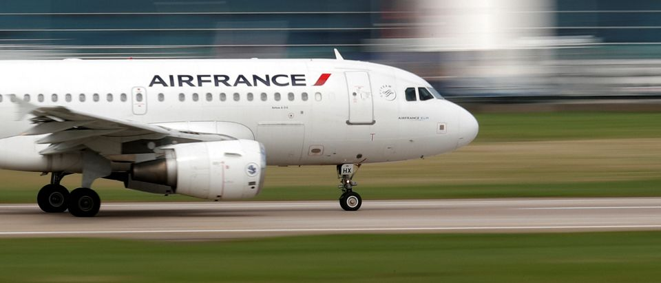 An Air France Airbus A319 takes off at the Orly Airport near Paris as Air France pilots, cabin and ground crews unions call for a strike over salaries
