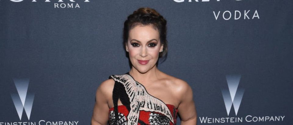 Actress Alyssa Milano attends The Weinstein Company's Pre-Oscar Dinner in partnership with Bvlgari and Grey Goose at Montage Beverly Hills on February 25, 2017 in Beverly Hills, California. (Photo by Dimitrios Kambouris/Getty Images for The Weinstein Company)