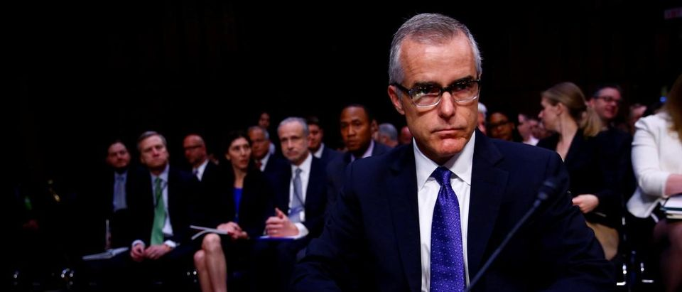 Former FBI Deputy Director Andrew McCabe arrives to testify before the U.S. Senate Select Committee on Intelligence on Capitol Hill in Washington, U.S. May 11, 2017. REUTERS/Eric Thayer/File Photo