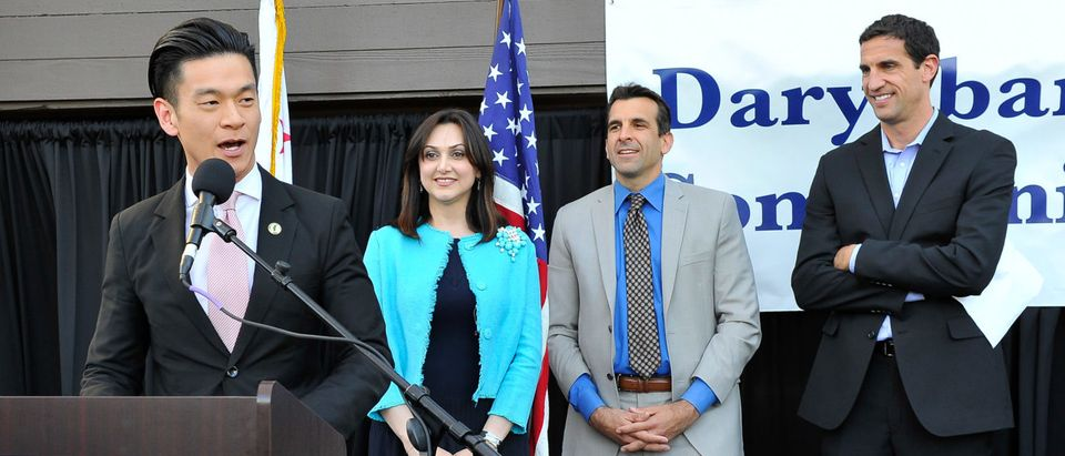 SAN JOSE, CA - APRIL 16: (L-R) Evan Low, Bita Daryabari, Sam Liccardo and Matt Mahood attend the Pars Equality Center's Daryabari Iranian Community Center Opening on April 16, 2015 in San Jose, California. (Photo by Steve Jennings/Getty Images for PARS EQUALITY CENTER) | CA LGBT Bill Could Ban The Bible