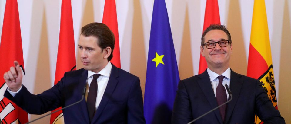 Austria's Chancellor Sebastian Kurz and Vice Chancellor Heinz-Christian Strache address the media after a cabinet meeting in Vienna, Austria, April 4, 2018. REUTERS/Heinz-Peter Bader | Austria To Ban Hijabs For Young Girls