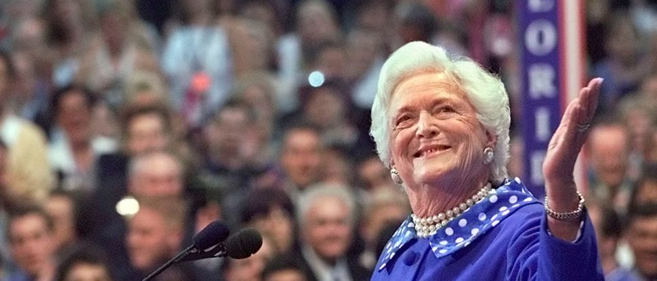 FILE PHOTO: Former U.S. first lady Barbara Bush acknowledges the cheers from the crowd as she speaks before the Republican National Convention in Philadelphia