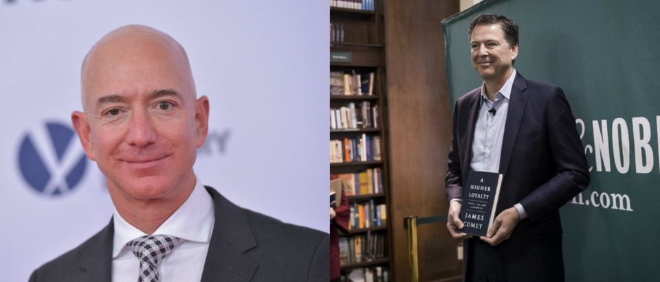 Left: Amazon CEO Jeff Bezos arrives for the premiere of 'The Post' on December 14, 2017, in Washington, D.C. (Photo: MANDEL NGAN/AFP/Getty Images) Right: Former FBI Director James Comey poses for photographs as he arrives to speak about his new book 'A Higher Loyalty: Truth, Lies, and Leadership' at Barnes & Noble bookstore, April 18, 2018 in New York City. (Photo by Drew Angerer/Getty Images)