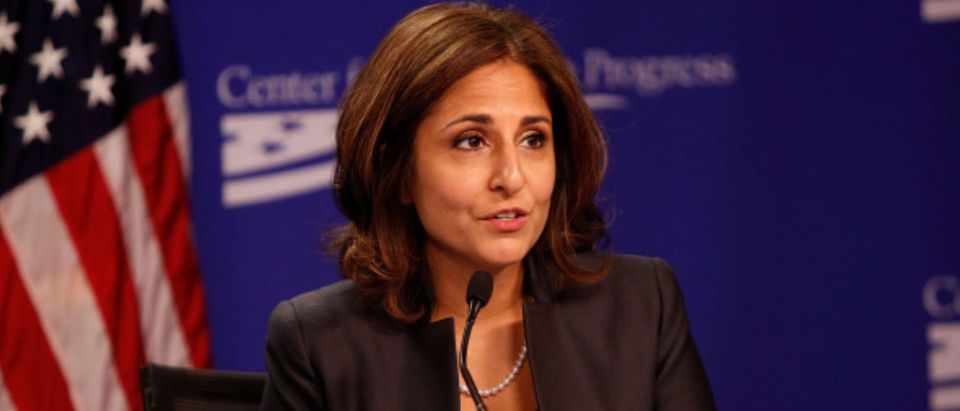 "WASHINGTON, DC - SEPTEMBER 18: CAP President Neera Tanden moderates the ""Why Women's Economic Security Matters For All"" panel discussion at The Center For American Progress on September 18, 2014 in Washington, DC. (Photo by Paul Morigi/WireImage)"