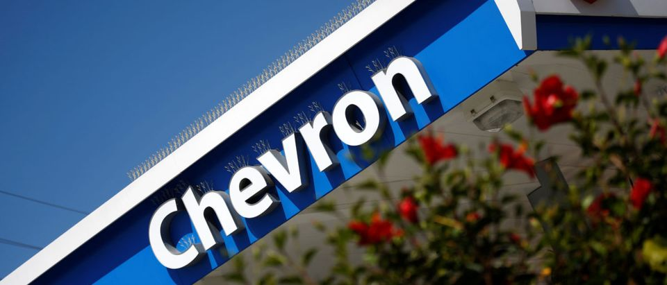 The logo of Dow Jones Industrial Average stock market index listed company Chevron (CVX) is seen in Los Angeles, California, United States, April 12, 2016. REUTERS/Lucy Nicholson | Filmmakers Target Chevron Lawsuit