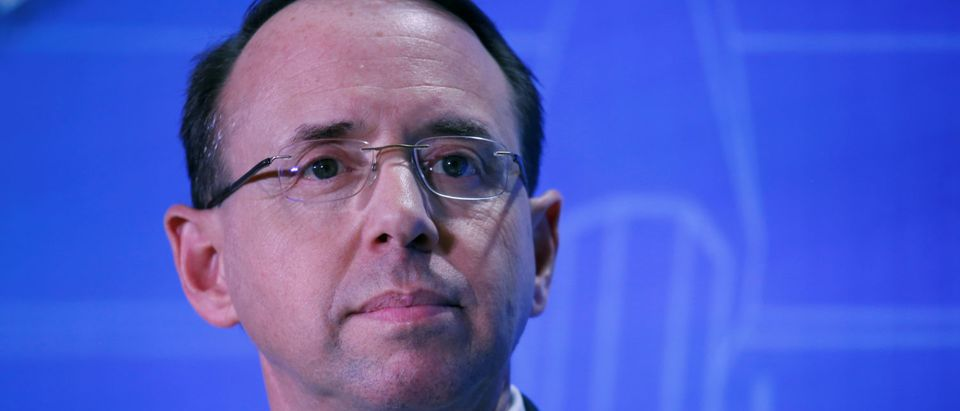 Deputy U.S. Attorney General Rod Rosenstein takes part in the Financial Services Roundtable spring conference at The Wharf Intercontinental Hotel in Washington, U.S., February 26, 2018. REUTERS/Leah Millis