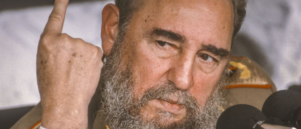 CUBA - FEBRUARY 1989: Fidel Castro, President of Cuba, during news conference. (Shutterstock)