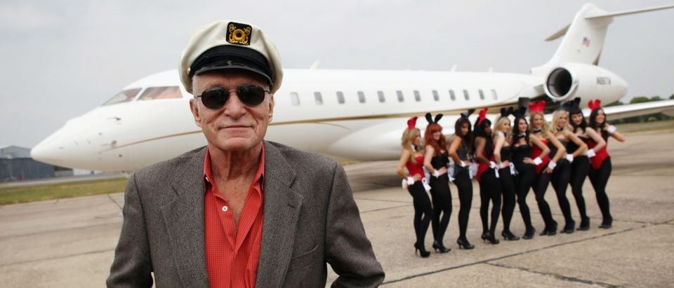 Playboy founder Hugh Hefner arrives at Stansted Airport on June 2, 2011 in Stansted, England. (Photo by Dan Kitwood/Getty Images)