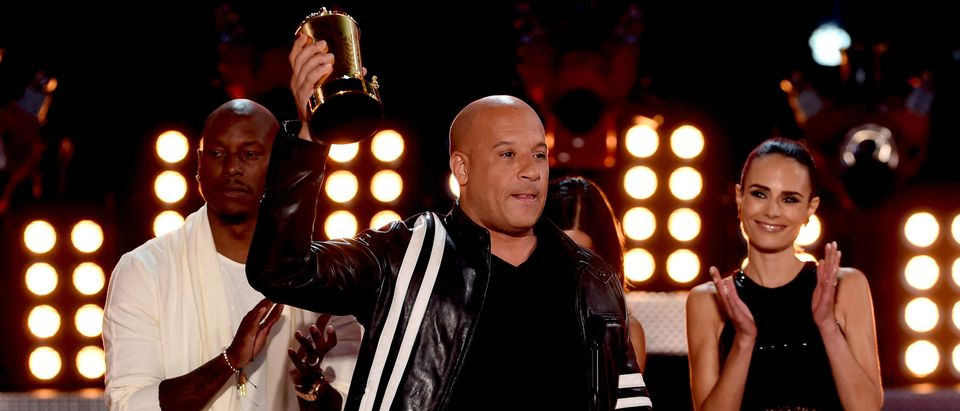 (L-R) Actors Tyrese Gibson, Vin Diesel and Jordana Brewster accept the MTV Generation Award for 'The Fast and the Furious' franchise onstage during the 2017 MTV Movie And TV Awards at The Shrine Auditorium on May 7, 2017 in Los Angeles. (Photo by Kevin Winter/Getty Images)