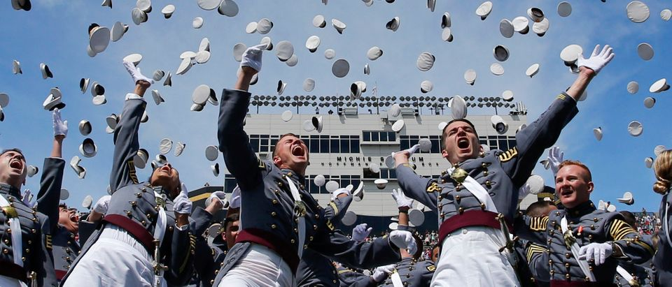 West Point graduates toss their hats in the air at the conclusion of the U.S. Military Academy Class of 2017 graduation ceremony at Michie Stadium on May 27, 2017 in West Point, New York. (Photo by Eduardo Munoz Alvarez/Getty Images)