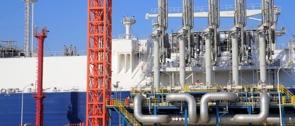 Zhongneng Beihai liquefied natural gas (LNG) tanker is seen berthed at Sinopec's LNG terminal in Tianjin, China February 6, 2018. REUTERS/Stringer | Glendale utility Opts Tables Repowering