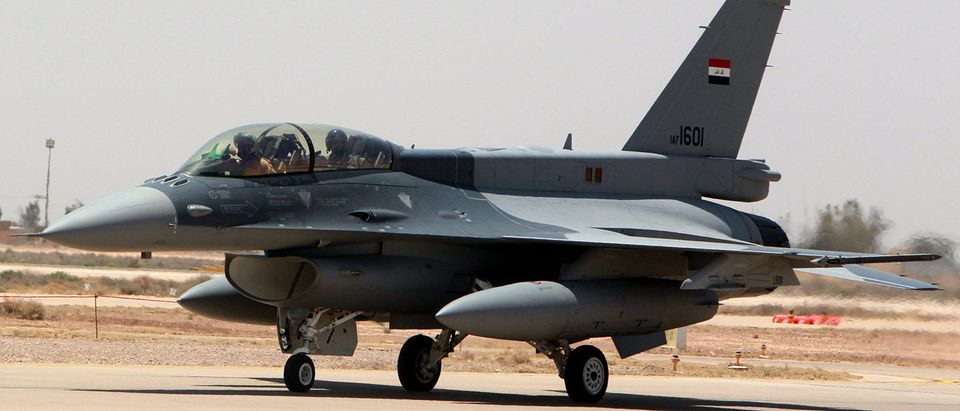 One of the two recently delivered F-16 fighter jets from the US is seen on the tarmac at Iraq's Balad air base in the Salaheddin province, north of the capital Baghdad, on July 20, 2015 during a visit to the base by Iraqi's Prime Minister Haidar al-Abadi. SABAH ARAR/AFP/Getty Images
