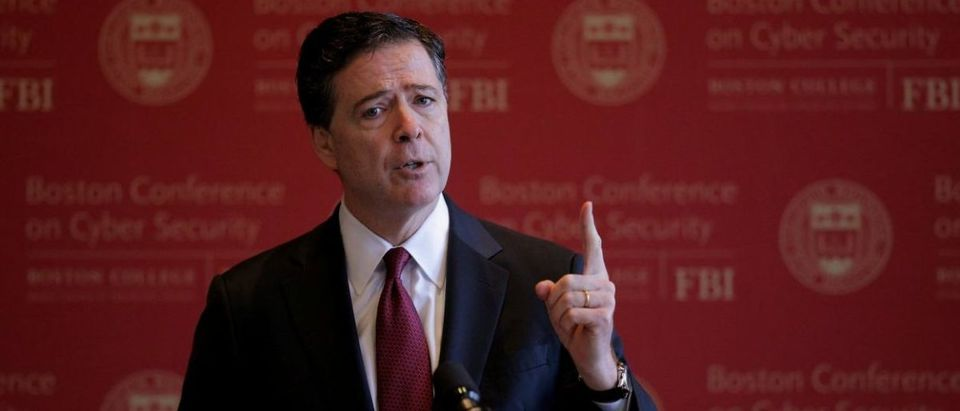 FILE PHOTO: FBI Director James Comey speaks at the Boston Conference on Cyber Security at Boston College in Boston, Massachusetts, U.S., March 8, 2017. REUTERS/Brian Snyder/File Photo | Rosenstein James Comey Memos