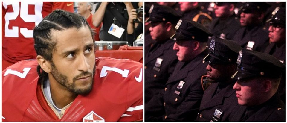 Kaepernick Police Left: Photo by Thearon W. Henderson/Getty Images Right: Photo by Drew Angerer/Getty Images