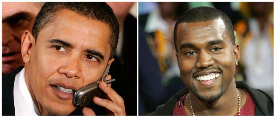 Kanye Obama Left: Photo by Mark Wilson/Getty Images Right: Photo by Peter Kramer/Getty Images