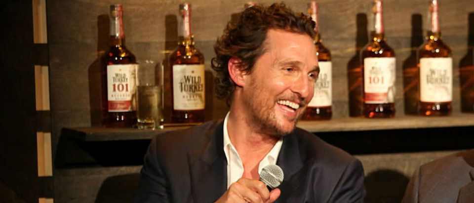 BROOKLYN, NY - SEPTEMBER 07: Actor Matthew McConaughey (L) and Wild Turkey Master Distiller, Jimmy Russell speak to guests during the World Premiere of the Wild Turkey Campaign with Matthew McConaughey and Jimmy & Eddie Russell on September 7, 2016 in Brooklyn. (Photo by Monica Schipper/Getty Images for Wild Turkey)