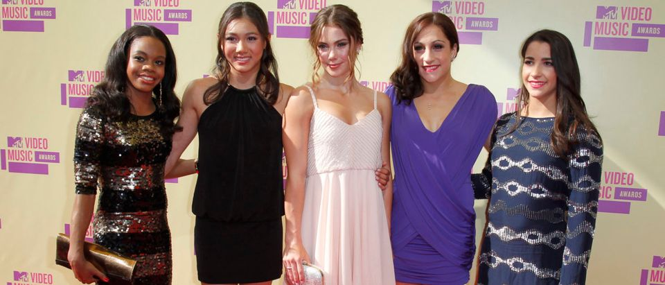 The U.S. womens gold medal Olympic gymnastics team arrive for the 2012 MTV Video Music Awards in Los Angeles