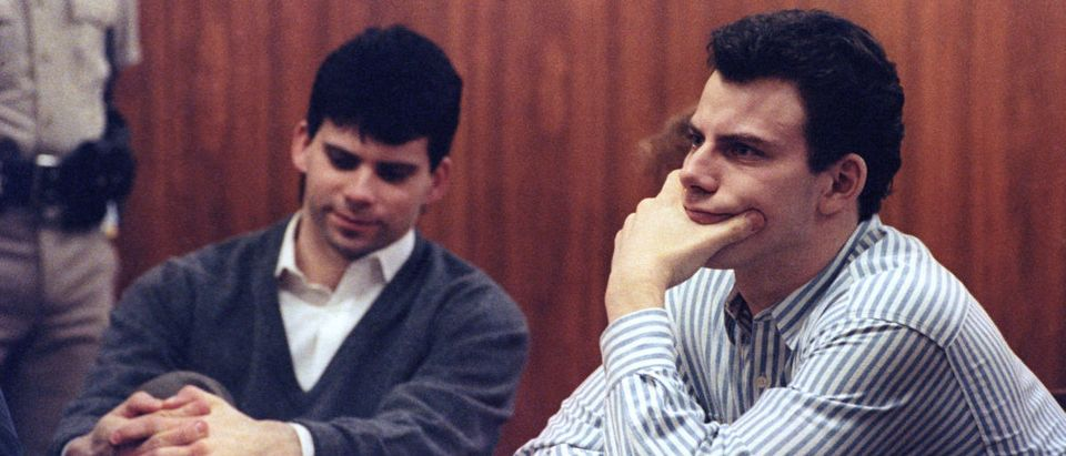 Erik Menendez (R) and brother Lyle listen to court proceedings during a May 17, 1991 appearance in the case of the shotgun murder of their wealthy parents in August 1989. The California Supreme Court must decide whether to review a lower court decision to allow alleged tape confessions made to a psychiatrist as evidence before a preliminary hearing can take place. REUTERS/Lee Celano | Menendez Brothers Reunited