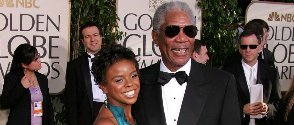 Actor Morgan Freeman and step granddaughter E'Dena Hines arrive to the 62nd Annual Golden Globe Awards at the Beverly Hilton Hotel January 16, 2005 in Beverly Hills, California. (Photo by Kevin Winter/Getty Images)