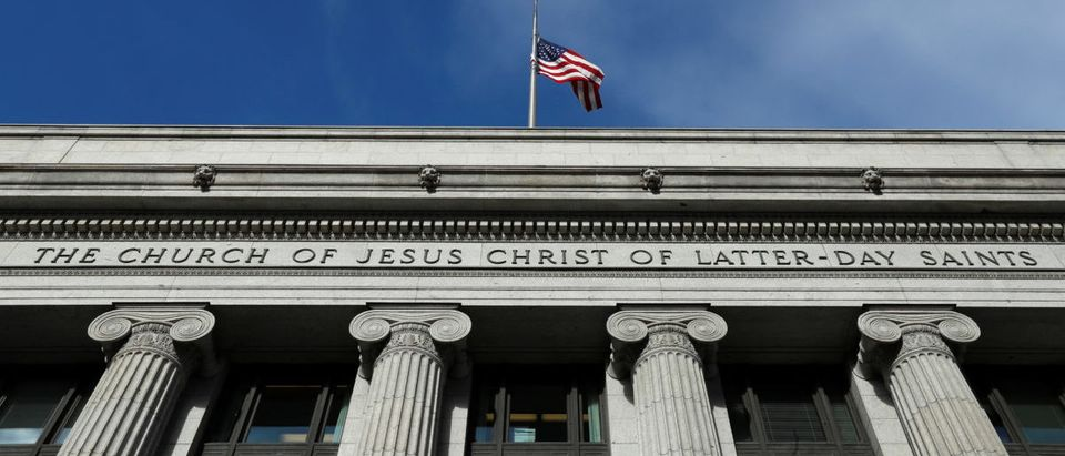A flag flies at half mask outside the world headquarters of the Mormon Church for Thomas S. Monson, President of the Church of Jesus Christ of Latter-Day Saints (The Mormon church) in Salt Lake City