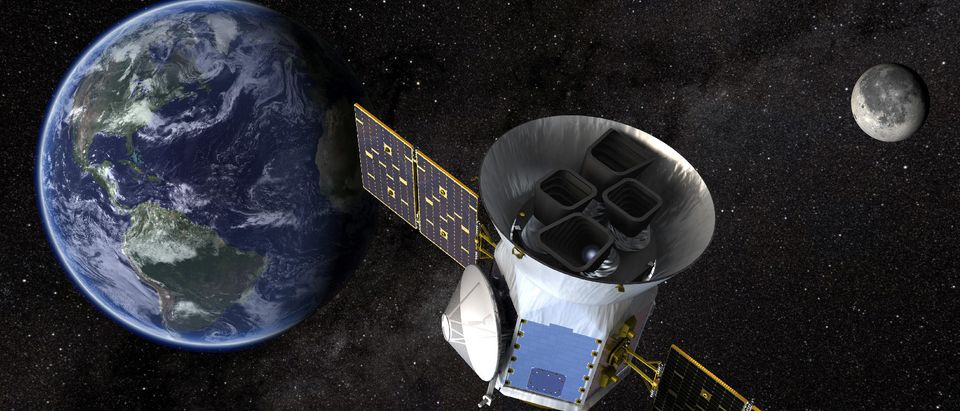 NASA handout of a conceptual illustration of TESS, the Transiting Exoplanet Survey Satellite