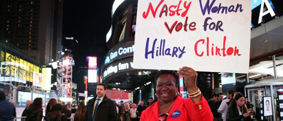 NEW YORK - NOVEMBER 08: A Hillary Clinton supporter in Time Square on November 8, 2016 in New York City. Ruaridh Connellan / Barcroft Ima / Barcroft Media via Getty Images | NYT Reporter Is Also Avid Clinton Fan