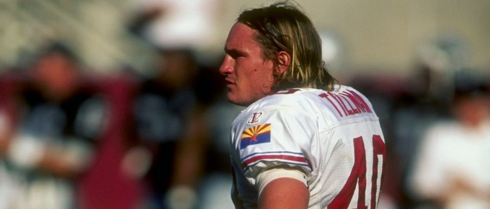 4 Oct 1998: Safety Pat Tillman #40 of the Arizona Cardinals looks on during a game against the Oakland Raiders at the Sun Devil Stadium in Tempe, Arizona. The Raiders defeated the Cardinals 23-20. Mandatory Credit: Todd Warshaw /Allsport/ Getty Images