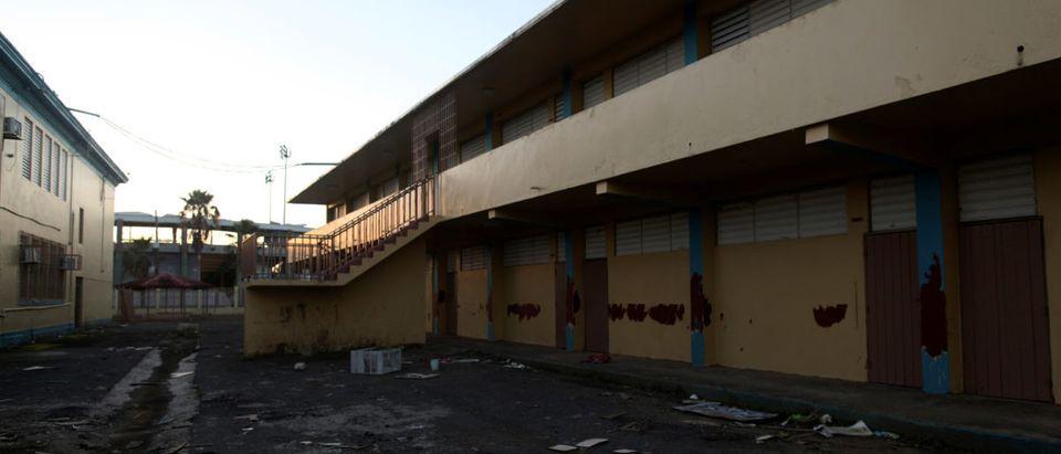 The patio of a shut-down elementary school is seen, in Toa Baja, Puerto Rico February 5, 2018. REUTERS/Alvin Baez