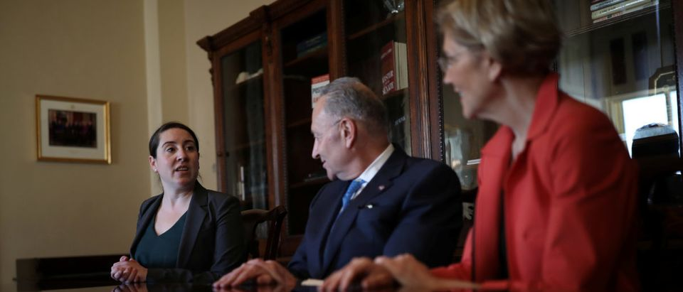 Leandra English, current acting director of the Consumer Financial Protection Bureau (CFPB) meets with Senate Democratic Leader Chuck Schumer (D-NY) and Senator Elizabeth Warren (D-MA) in Capitol Hill, Washington, D.C.