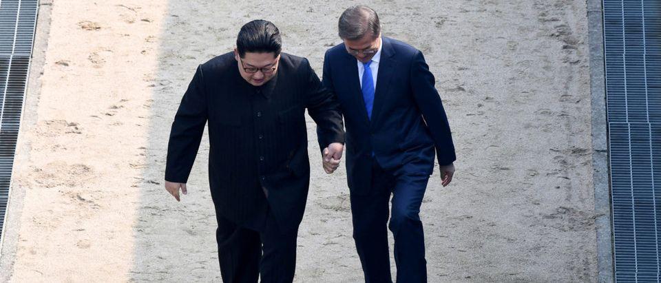 South Korean President Moon Jae-in and North Korean leader Kim Jong Un meet in the truce village of Panmunjom