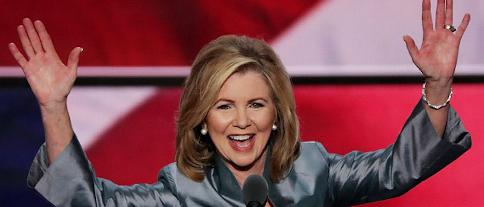 CLEVELAND, OH - JULY 21: Rep. Marsha Blackburn (R-TN) delivers a speech during the evening session on the fourth day of the Republican National Convention on July 21, 2016 at the Quicken Loans Arena in Cleveland, Ohio. Republican presidential candidate Donald Trump received the number of votes needed to secure the party's nomination. An estimated 50,000 people are expected in Cleveland, including hundreds of protesters and members of the media. The four-day Republican National Convention kicked off on July 18. (Photo by Alex Wong/Getty Images)