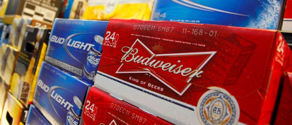 Anheuser Busch's Budweiser and Bud Light Beer can be seen on display at a new Wal-Mart store in Chicago