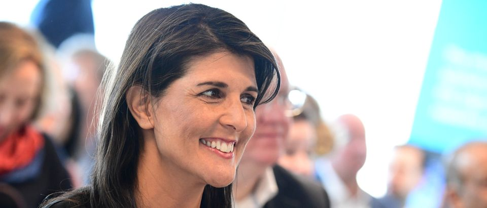 U.S. Ambassador to the United Nations Nikki Haley arrives at the European Spallation Source (ESS) in Lund, Sweden April 20, 2018. Johan Nilsson/TT News Agency/via REUTERS ATTENTION EDITORS - THIS IMAGE WAS PROVIDED BY A THIRD PARTY. SWEDEN OUT. - RC1686C4ECA0